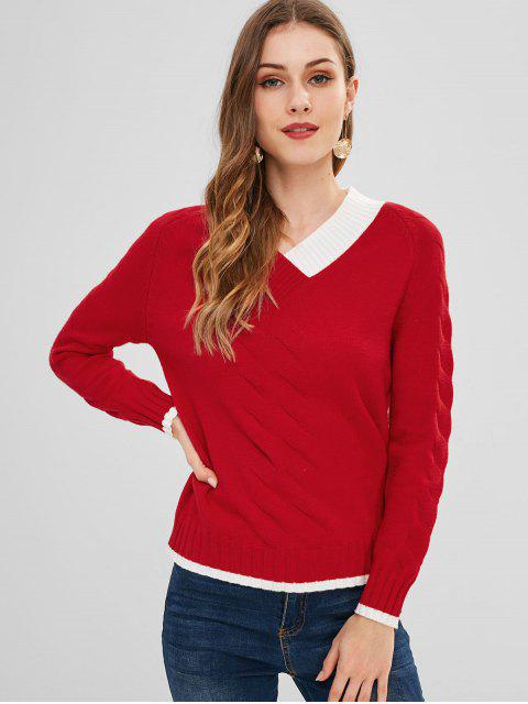 shops Geometric Print V Neck Sweater - RED ONE SIZE Mobile
