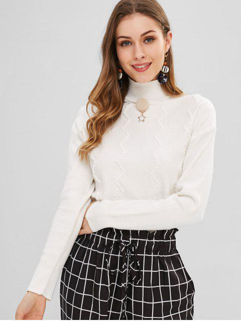 trendy Zigzag Pattern Mock Neck Sweater - WHITE ONE SIZE Mobile