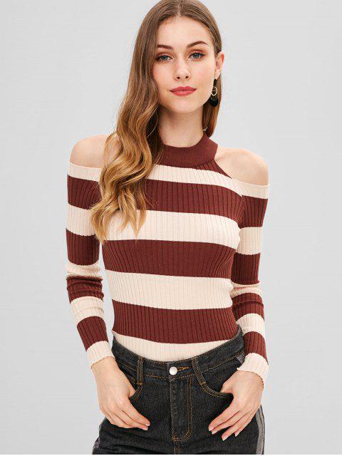 unique Cold Shoulder Color Block Sweater - LIGHT BROWN ONE SIZE Mobile