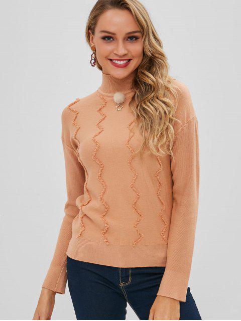 sale Zigzag Pattern Mock Neck Sweater - KHAKI ONE SIZE Mobile