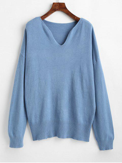 ladies Loose V Neck Drop Shoulder Sweater - BLUE KOI ONE SIZE Mobile