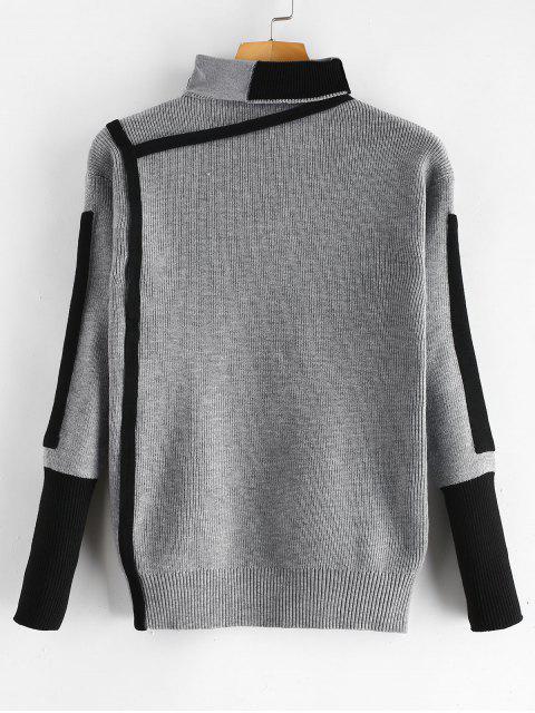 Jersey de cuello alto color block - Gris Nublado Talla única Mobile