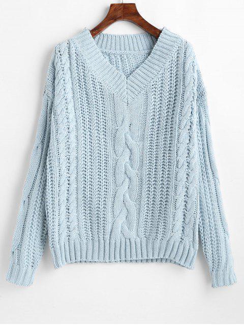 shop Drop Shoulder V Neck Chunky Sweater - DAY SKY BLUE ONE SIZE Mobile