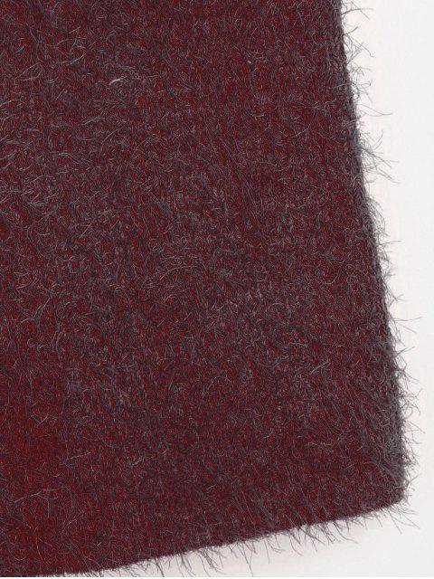 Pull Texturé à Col V - Rouge Vineux M Mobile