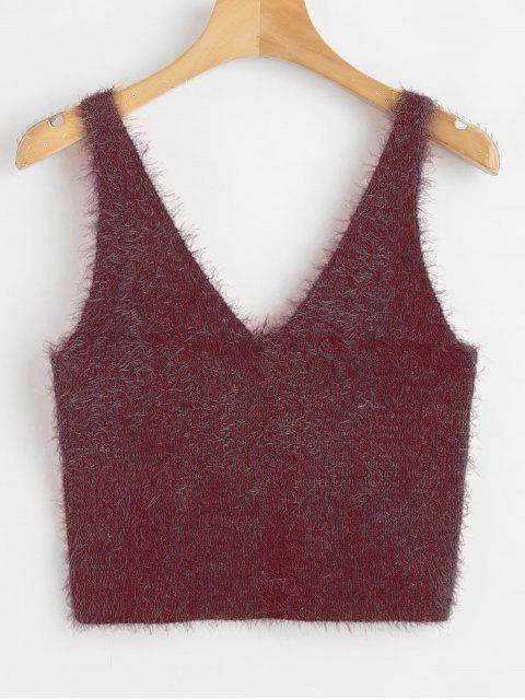 fashion Vest Textured V Neck Sweater - RED WINE XL Mobile