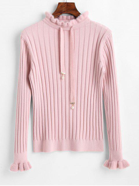 chic Mock Neck Fitted Drawstring Sweater - PINK ONE SIZE Mobile