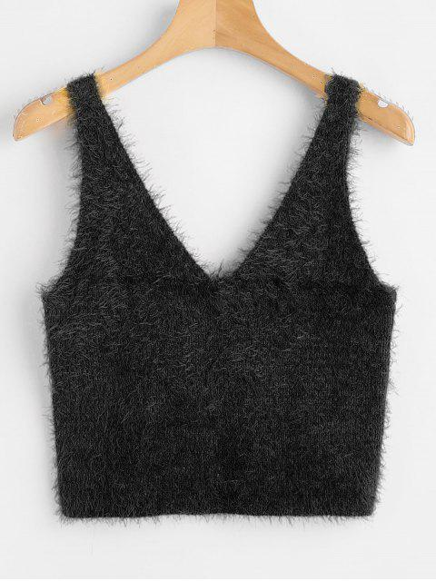 Chaleco texturizado con cuello en v suéter - Negro M Mobile