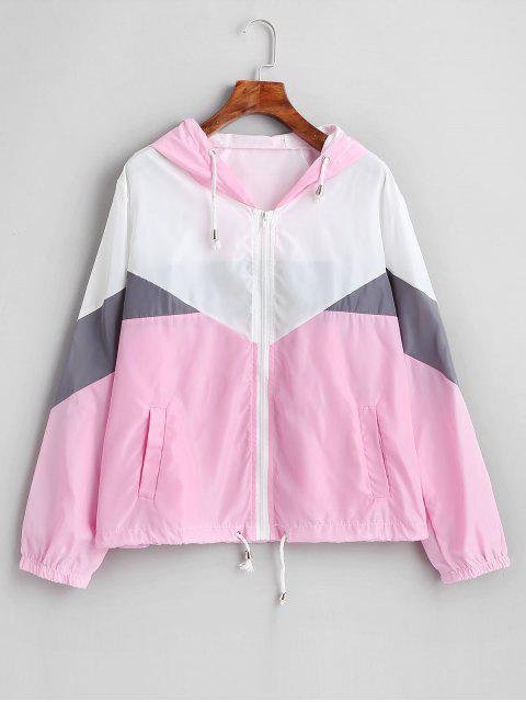 online Zip Up Color Block Windbreaker Jacket - MULTI-B L Mobile