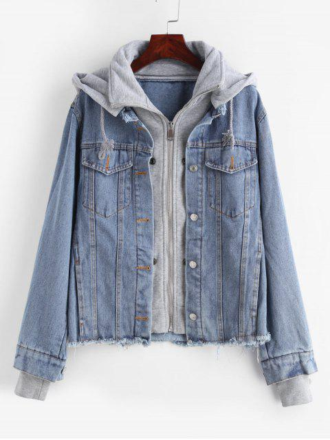 Veste en jean effiloché à capuche zippée - Bleu Toile de Jean S Mobile