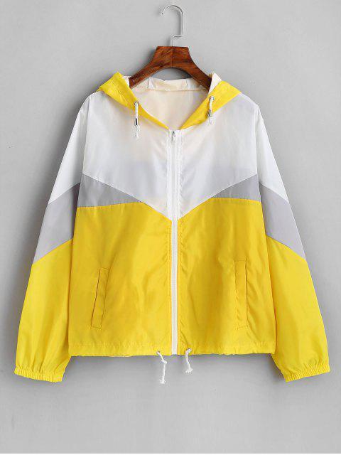 shop Zip Up Color Block Windbreaker Jacket - MULTI-C L Mobile