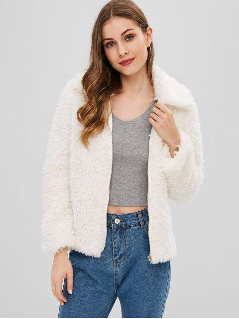 Fluffy Plain Zip Up Coat - Blanc S Mobile