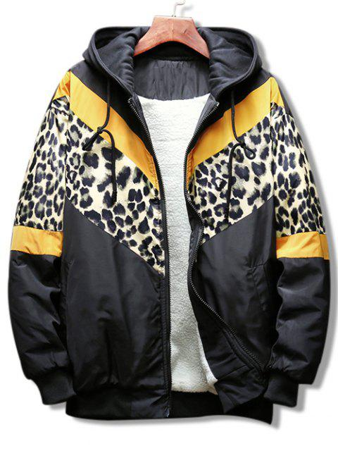 new Leopard Color Block Graphic Hooded Jacket - YELLOW 2XL Mobile