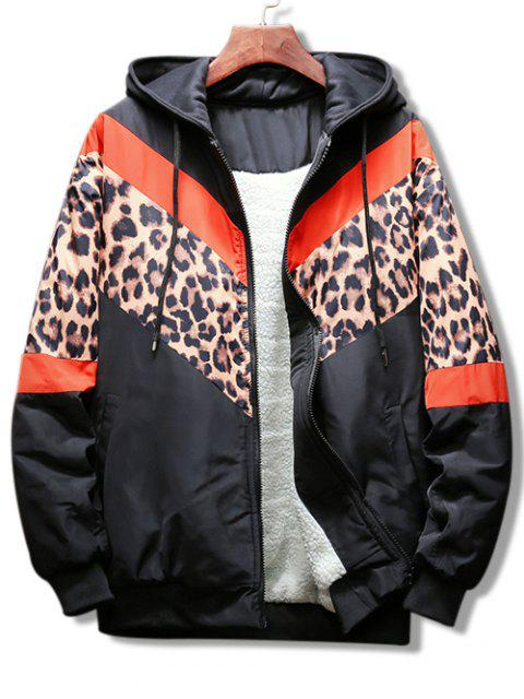 fashion Leopard Color Block Graphic Hooded Jacket - RED S Mobile
