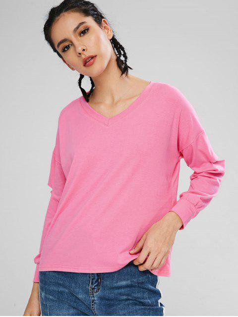 best V Neck Slashed Long Sleeve Tee - HOT PINK XL Mobile