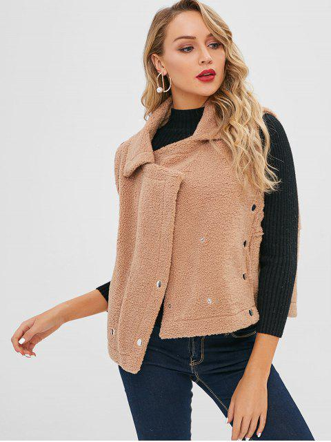 womens Button Embellished Fluffy Waistcoat - TAN M Mobile