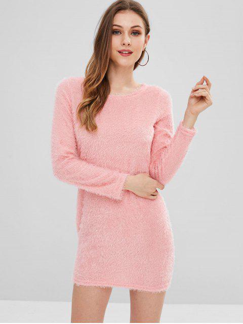 women's Fluffy Yarn Mini Sweater Dress - LIGHT PINK L Mobile