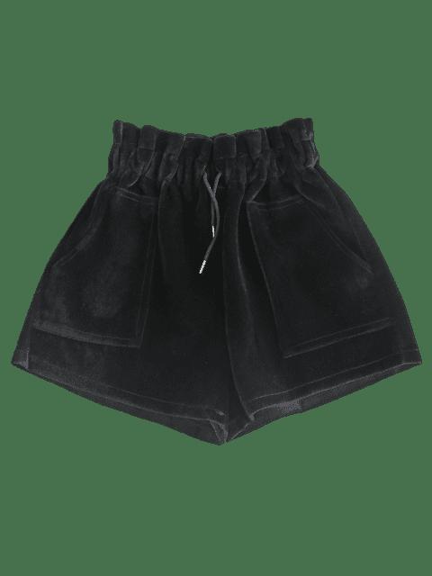 Short à Taille Haute en Velours avec Poches - Noir Taille Unique Mobile