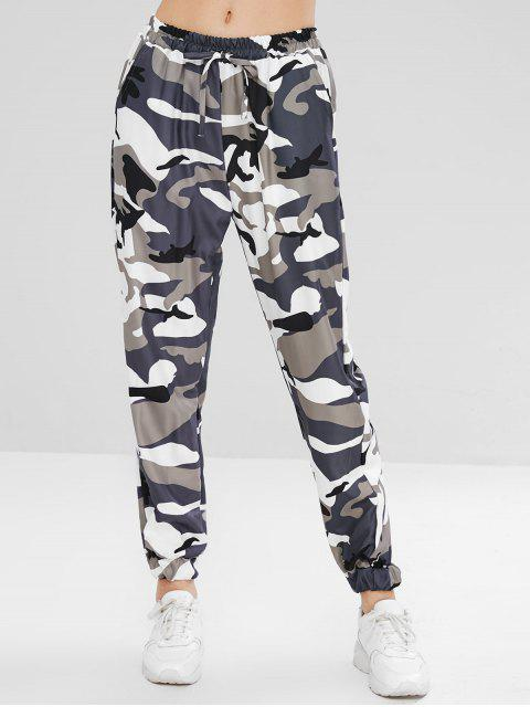 trendy High Waisted Camouflage Jogger Pants - WOODLAND CAMOUFLAGE S Mobile