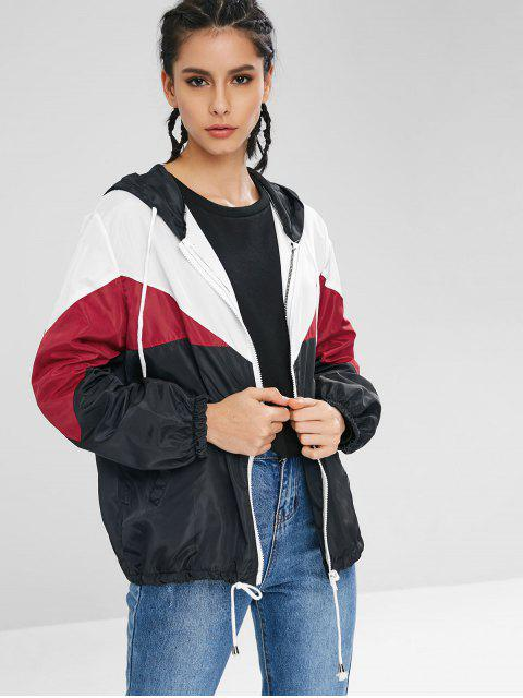 lady Color Block Zip Up Track Jacket - RED M Mobile