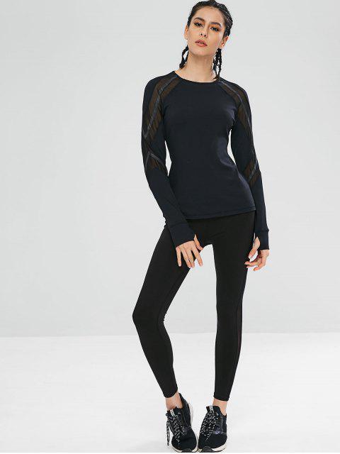 T-shirt de Sport de Gym Panneau en Maille à Manches Longues - Noir M Mobile
