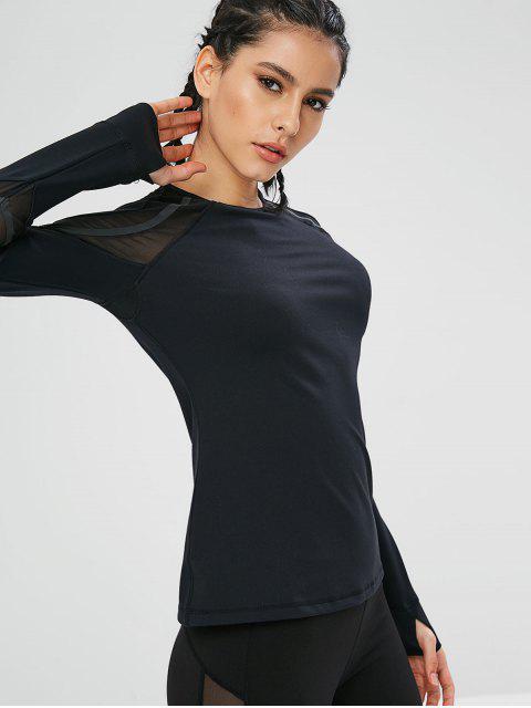T-shirt de Sport de Gym Panneau en Maille à Manches Longues - Noir L Mobile
