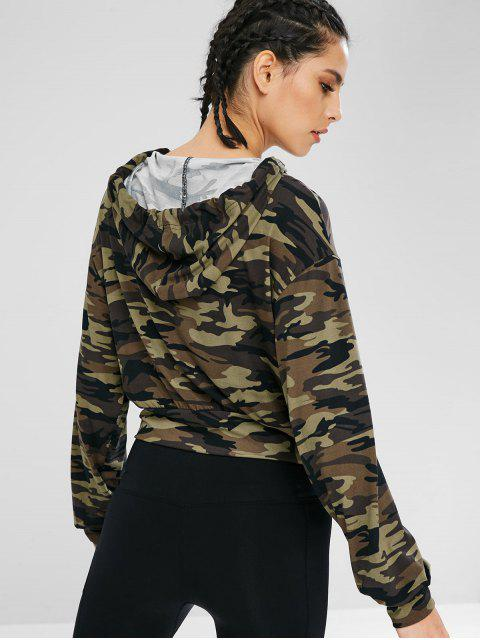women Athletic Camo Drawstring Sport Hoodie - ACU CAMOUFLAGE L Mobile