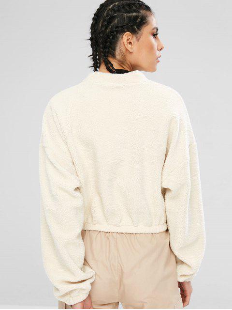 Lässige Drop Schulter flauschige Sweatshirt - Warmweiß L Mobile