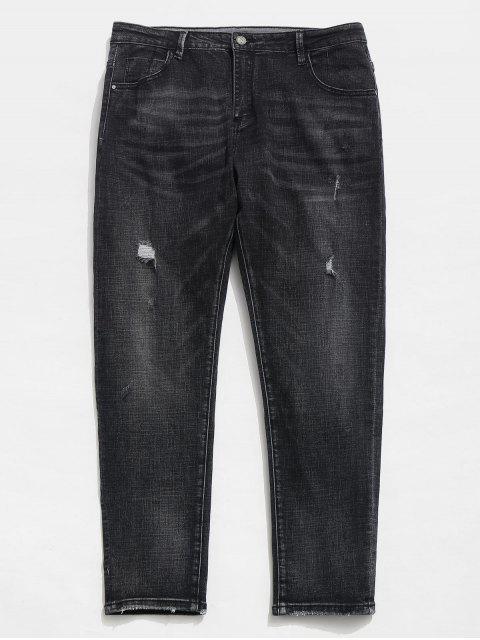 fancy Straight Leg Zipper Distressed Cuffed Jeans - BLACK 38 Mobile