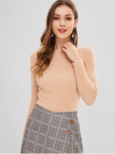 Einfarbiger Slim-Base-Pullover - Aprikose Eine Größe Mobile