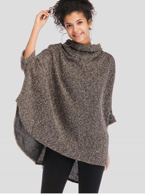 affordable Cowl Neck Oversized Poncho Sweater - MULTI ONE SIZE Mobile