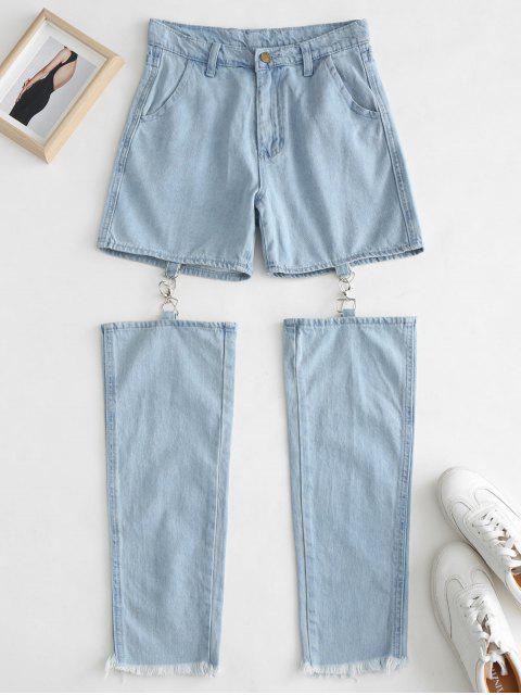 women Frayed Hem Cut Out Jeans - JEANS BLUE S Mobile