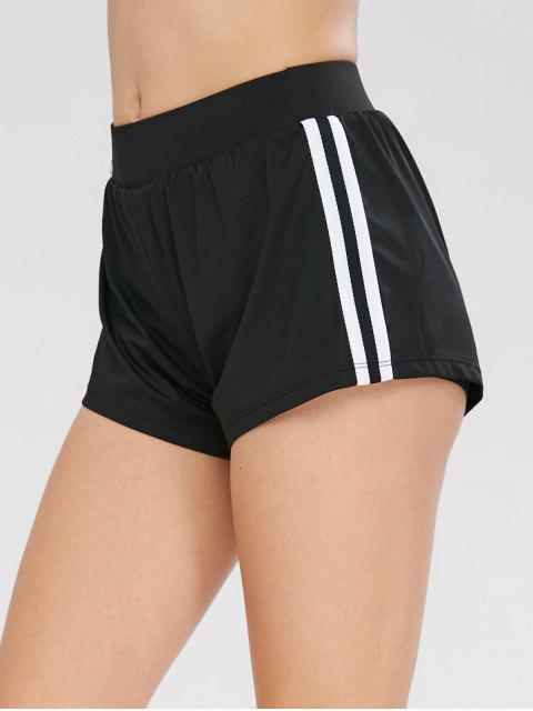 Pantalones cortos de gimnasia deportiva de contraste - Negro M Mobile