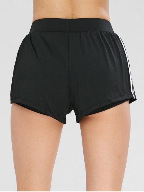women Contrast Athletic Sport Gym Shorts - BLACK L Mobile