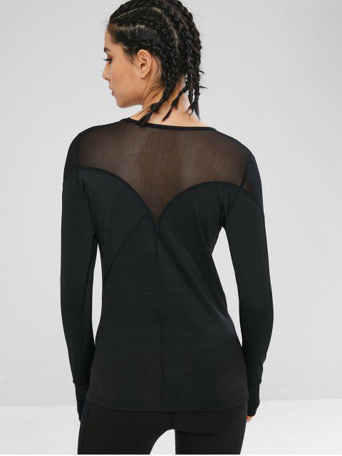 Camiseta de gimnasio de manga larga con inserciones de malla - Negro M Mobile