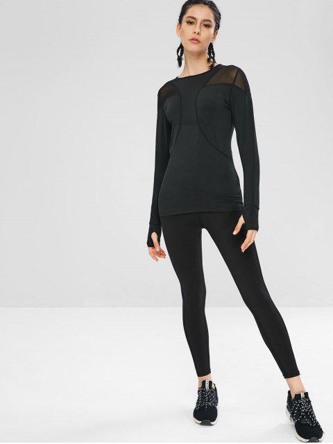 Langärmliges Mesh-Gymnastik-T-Shirt - Schwarz L Mobile