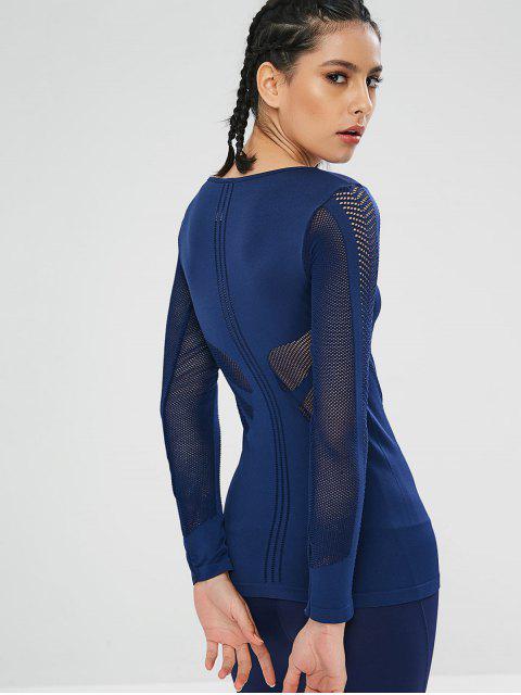 Athletisches perforiertes langärmliges Gymnastik T-Stück - Blau M Mobile