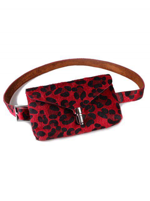 Elegante bolso de cinturón de piel sintética con paquete de trasero de leopardo - Rojo  Mobile