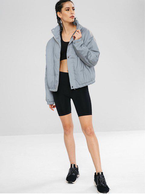 Reflektierende silberne Puffer-Zip-Jacke - Platin L Mobile