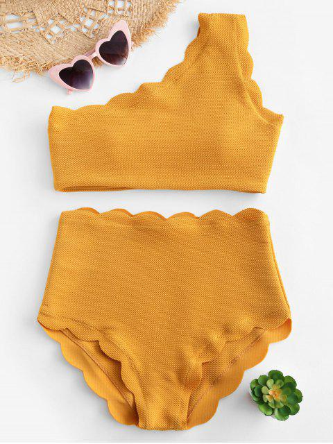 Hoch tailliertes überbackenes Bikini-Set mit einer Schulter - Senf XL Mobile