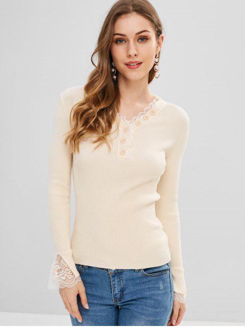 Botón de encaje insertado adornado suéter - Blanco Almendra Talla única Mobile
