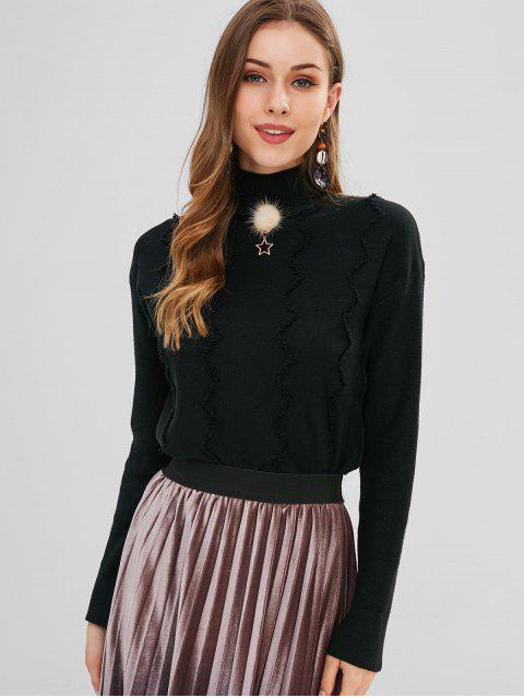 Zick-Zack-Muster Mock Neck Sweater - Schwarz Eine Größe Mobile