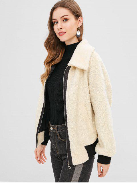 ZAFUL Manteau Zippé à Ourlet Contrasté en Fausse Laine - Beige M Mobile