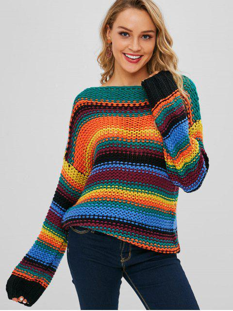 trendy Multicolored Chunky Loose Knit Striped Sweater - MULTI ONE SIZE Mobile