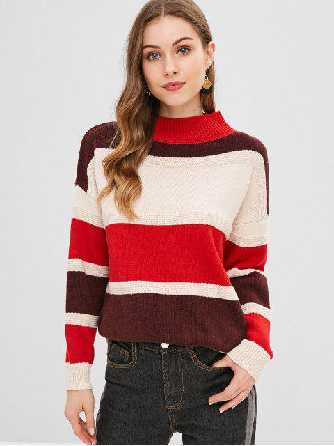 chic Drop Shoulder Colorful Sweater - MULTI ONE SIZE Mobile