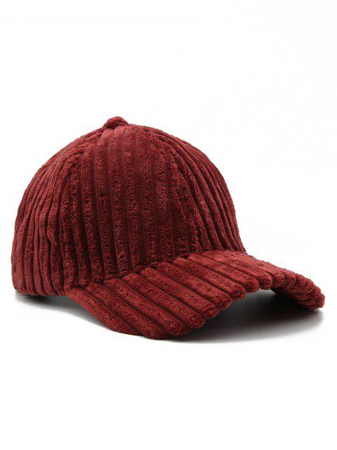 lady Vintage Thick Striped Adjustable Baseball Cap - FIREBRICK  Mobile