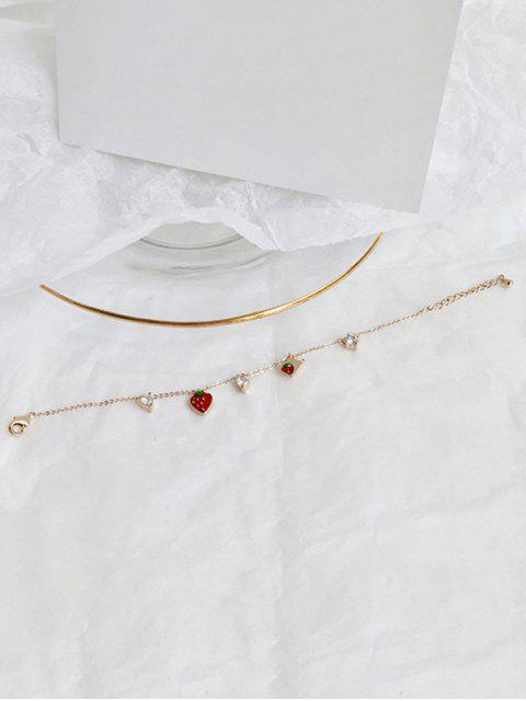 new Rhinestone Decor Strawberry Chain Bracelet - GOLD  Mobile