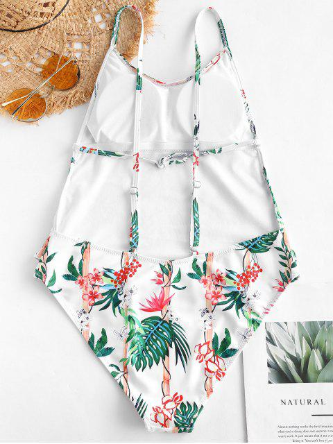 ladies ZAFUL Plant Print Ruffles Drop Armhole Swimsuit - MULTI-A M Mobile