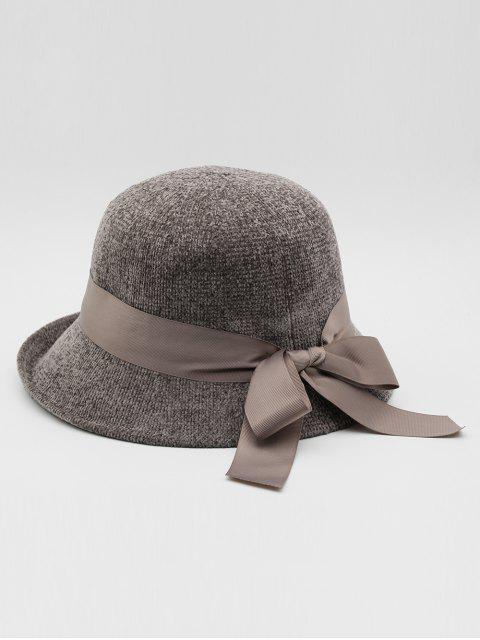 shop Vintage Ribbon Bowknot Bucket Hat - GRAY  Mobile