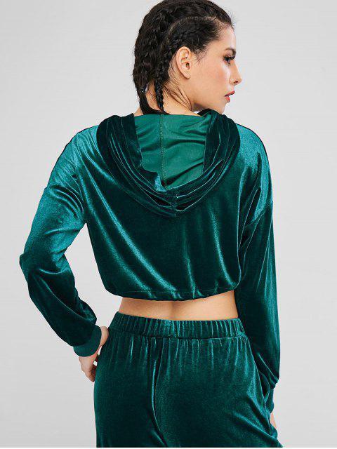 shop ZAFUL Velvet Drop Shoulder Crop Hoodie - DARK GREEN M Mobile