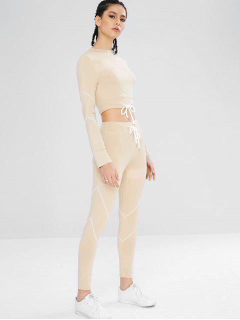 Kordelzug Gym T-Shirt und Leggings Set - Blanchierte Mandel S Mobile